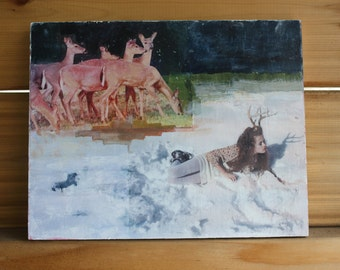 Deer Antlers, Snow, Portrait, Young Woman, Original Art, Unique Fine Art, Photography, Wall Decor, Mixed Media, 8 x 10