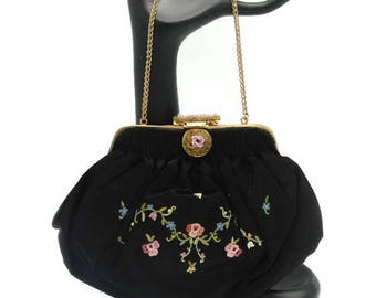 1920's Beaded French Silk Floral Petit Point Handbag Paris