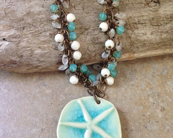 SALE!! Originally 72, now 62!Artisan Starfish Necklace, beaded, ceramic, summer, brass, Vintaj, czech glass