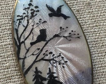 O.F. Hjortdahl Norway Guilloche Scenic Birds and Trees Pendant Sterling Silver Enamel