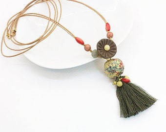 Long boho chic Necklace, Earth tones Necklace, Tassel Necklace, Long Pendant, Semiprecious stones
