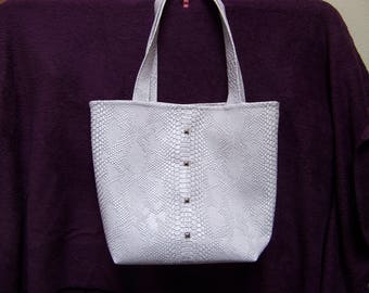 faux leather white reflection dragon tote bag purple