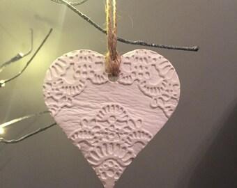 White Ceramic Hanging Heart Decoration