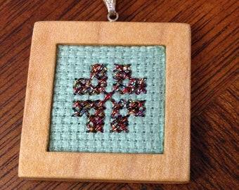 Cross Stitch Necklace, Multicolor Metallic Flower