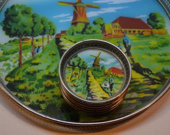 Bar Tray and Coasters with Dutch Scene