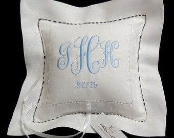 Personalized ring bearer pillow Ring pillow with wedding monogram and date on white Irish linen jfyBride Style 6142