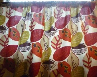 "54 x 60"" Burnt Orange Curtain Panel Valance Red Aubergine Cafe Curtain Rod Pocket Ruched 100% Cotton"