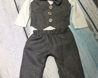 Baby suit - newborn suit - infant suit - baby vest - 3 piece suit - baby boy vest - newborn baby outfit - tweed suit - tweed vest