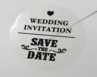 "Transparent or Silver Foil ""Save the Date"" Labels Stickers Seals #R4026"