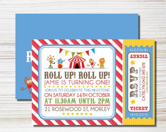 Roll Up, Roll Up - Circus Birthday Printable Invite