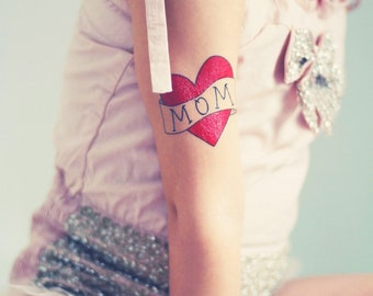 mom gift from daughter tattoo for babies mothers day toddler photoshoot prop mom heart temporary tattoo kids fake tattoos red heart tattoo