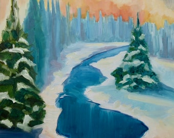 """Winter Christmas Tree Snowy River Original Landscape Oil Painting, 8x8"""" on Gessoboard, Contemporary Art, Winter Painting"""