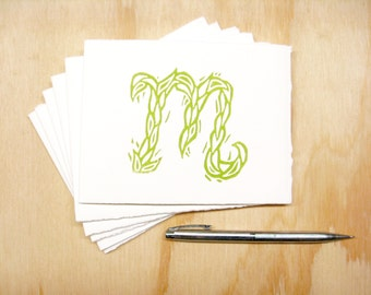 Letter M Stationery - Personalized Gift - Set of 6 Block Printed Cards
