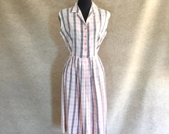 Vintage 50's Dress, Cotton Dress, 50's Sundress, White and Pink Plaid Sundress, Sleeveless, Rockabilly, Small to Medium, Bust 38, Waist 28