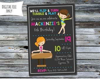 Gymnastics Birthday Invitation (Personalized) Digital Printable File