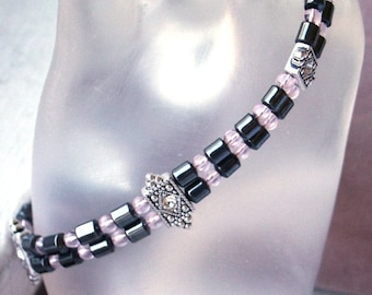 7.5 inch Two Strand Bracelet in Hematite and Pink Glass with Swarovski Spacers