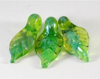 Handmade Lampwork Bead Set -  Green Leaf Set, SRA, LE TEam, DUST Team