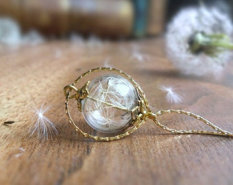 Dandelion necklace, 18K Gold Filled mini bottle glass ball necklace, nature jewelry real plant necklace, girlfriend I love you gift for her