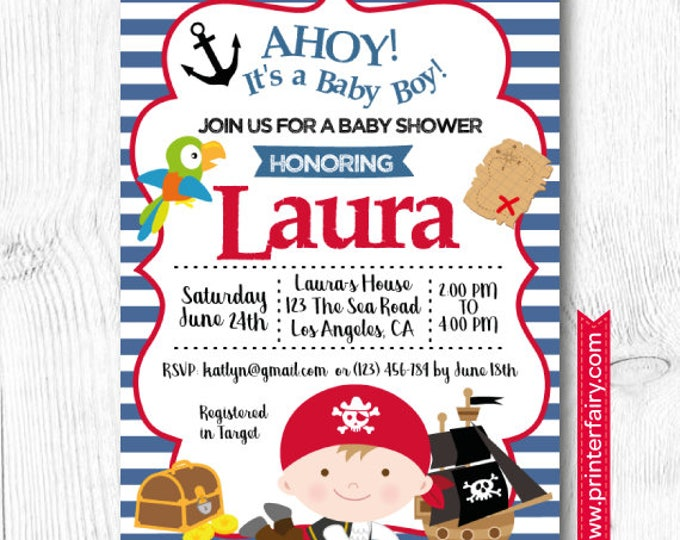 Pirate Baby Shower Invitation, Under the Sea Baby Shower, DIGITAL, 2 Options