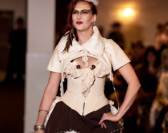 """Brown and cream pin stripe hitcher skirt and bolero  22""""to 50"""" or 32""""-61"""" waist  33"""" long steampunk, cosplay, lolita"""