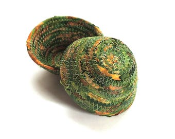 Itty Bitty Green and Tan Bowl // Handmade Coiled Fabric Basket Tiny Ring Dish Man's Key Bowl Men's Valet Evergreen Brown Masculine Color
