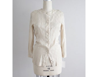 cream silk blouse | Chloe blouse | diamond pattern blouse