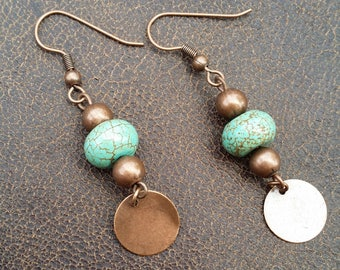 Rondelle Earrings. Southwest  Earrings. Turquoise Copper Earrings