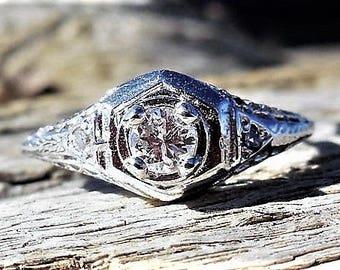 Art Deco Engagement Ring .20ct Diamond Unique Engagement Ring Vintage Engagement Ring Antique Engagement Ring 1920's 9k White Gold