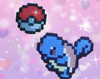 Pokemon Squirtle & Poke Ball Hama Perler Beads Midi