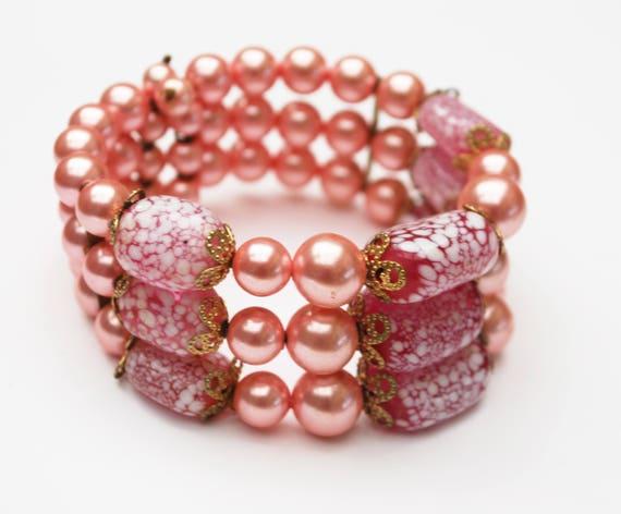 Pink  Bead Bracelet  metallic  pink  art glass beads  wire wrap  cuff  bangle