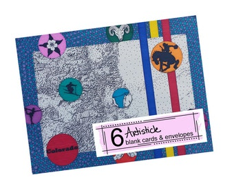 Colorado Note Cards - State Map Cards - Geography - Blank Greeting Cards - Pack of Cards - Denver Stationery - Blue Notecards - Tourist Gift