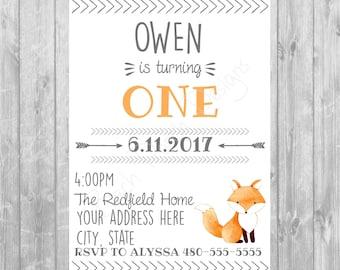 Woodland Fox Birthday Invitation - Digital