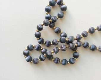 Vintage gray blue silk wrapped bead necklace with gold beads / thread covered beaded strand statement layering medium dark light dusty grey