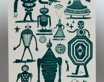 ROBOT PRINT, Zombie greeting card, robot party, Zomby art, scifi print, letterpress card, ray gun, robots, science fiction decor, mr. robot