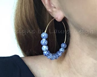 Blue and White Chinoiserie Large Hoop Earrings | royal blue, gold, hoops, lightweight