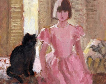 Black cat, girl, paper print, pink dress, interior scene, pet, sitting on window seat, children, portrait