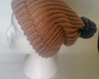 Knitted slouch hat textured pompom made to order choose color