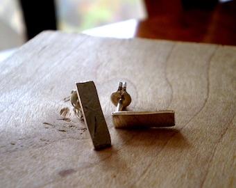 Little Monolith Reclaimed Sterling Silver Linear Stud Earrings