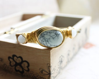White Turquoise, White Stone with Non-Tarnish Golden Wire Wrapped Bangle