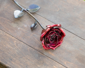Metal Rose • Red • Iron Anniversary • 6th Anniversary • Hand Forged • Wrought Iron • Blacksmith • Personalized Gift • Valentines Day