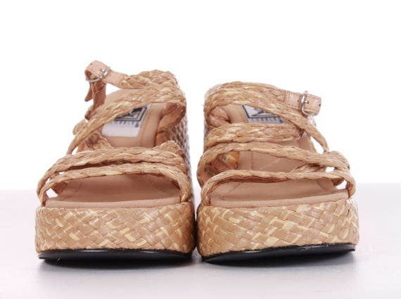 7 EUR38 Wedge Vintage 5 Platform 7 Chunky Beige 90's Woven 5 5 Strappy Sandals US Women's Mules UK 90's Size Straw Sandals Platforms 5 gPwpxqA0