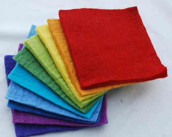 """100% Wool Felt Fabric - Approx 3mm - 5mm Thick - 10 Assorted 15cm / 6"""" Square Sheets - Rainbow"""