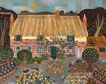 Thomas Hardy, Greeting Card, Far from the Madding Crowd, Literary Card, For Booklovers, Naive Art, Collage, Dorset, Country Cottage, Garden