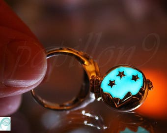 Poison Ring / Moon Stars Ring / GLOW in the DARK / Glow Poison Ring / Sterling Silver Ring /