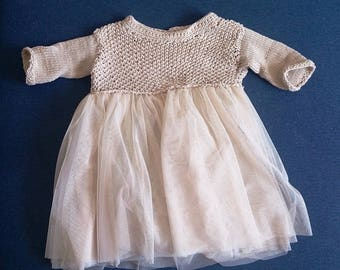 baby girl knit dress with tulle