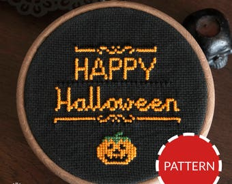 Happy Halloween Instant Download Cross Stitch Embroidery Pattern PDF