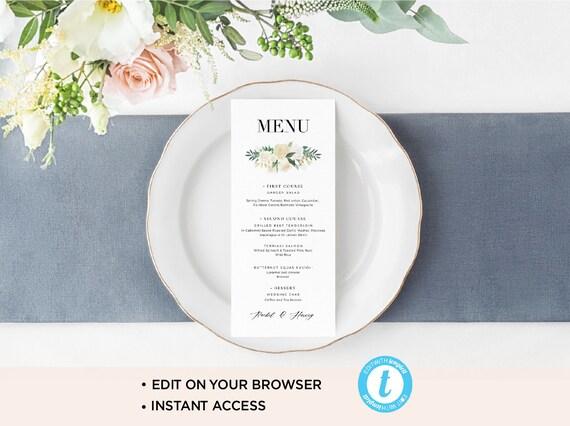simple wedding menu template modern wedding menu printable