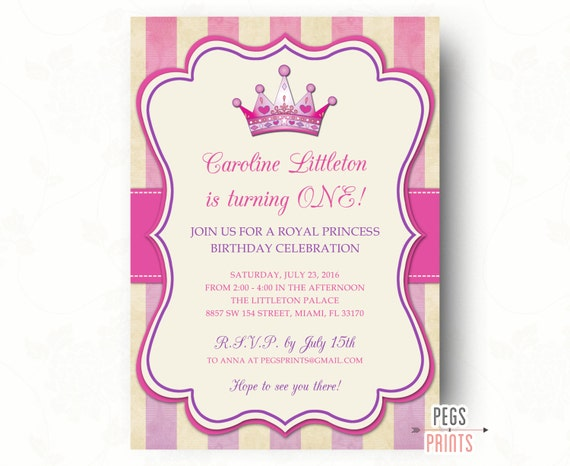Royal Princess Birthday Invitation Royal Princess Birthday