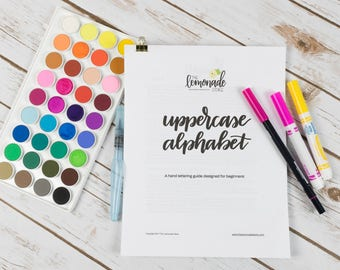 Uppercase Alphabet Practice Guide for Beginners - Hand Lettering, Learn Lettering, Crayola Calligraphy, Watercolor, Practice Sheets