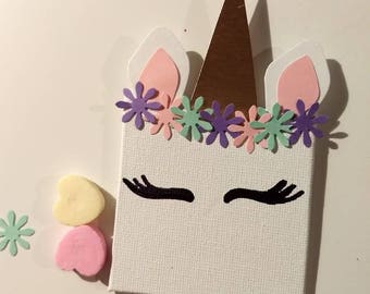 Mini canvas unicorn magnet